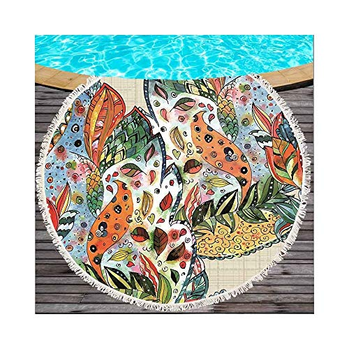 Junhongzhang telo mare farfalle stampato su telo mare tondo per coperta estiva in microfibra (150cm), modello 2.150x150cm