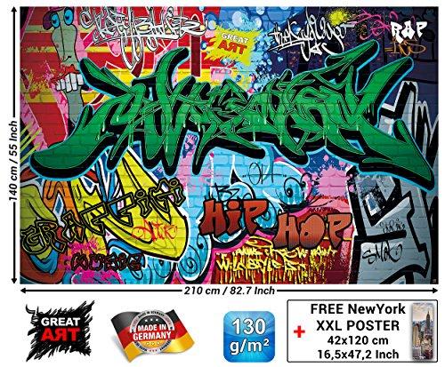 Great Art Fototapete Kinderzimmer - Street Style - Wandbild Dekoration Graffiti Art Writing Pop Art Schriftzüge Wall Painting Mauer Urban Abstract Comic Wandtapete Wanddeko (210x140 cm)