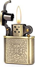 KUBOY Bronzy Constantine Feuerzeug, Antikstil mit Schnitzereien, Öl Benzin