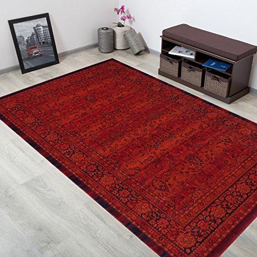 WOLLTEPPICH bester Qualität - Teppich aus Wolle ins Wohnizimmer mit Bordüre - Muster Ornamente Farbe Terrakotta Blau - THEATRE COLLECTION 200 x 300 cm Home-theatre-teppich