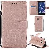 Ooboom® HTC U11 Hülle Sonnenblume Muster Flip PU Leder Schutzhülle Handy Tasche Case Cover Stand mit Kartenfach für HTC U11 - Rose Gold