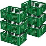 6x Eurobehälter durchbrochen/Stapelkorb, Industriequalität, lebensmittelecht, 600 x 400 x 240 mm, grün