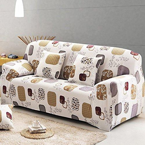 Sofa für 2-Sitzer-Sofa Schonbezug Stretch Elastic Pet Dog Polyester-Couch Displayschutzfolie-Soft Couch Cover Floral Print Bettüberwurf, Quadratisch, 2-Sitzer