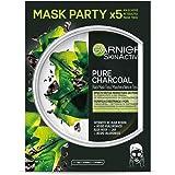 Garnier Skin Active - Black Mask Tissu Pure Charcoal, mascarilla de tejido con carbón y extracto de alga negra para pieles co