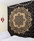 Original Gold Black passion Wall hanging - Ombre Mandala Tapestry - Indian Wall Decor - Bohemian Wall Art - 100% Cotton - 84X90 Inches By Craftura