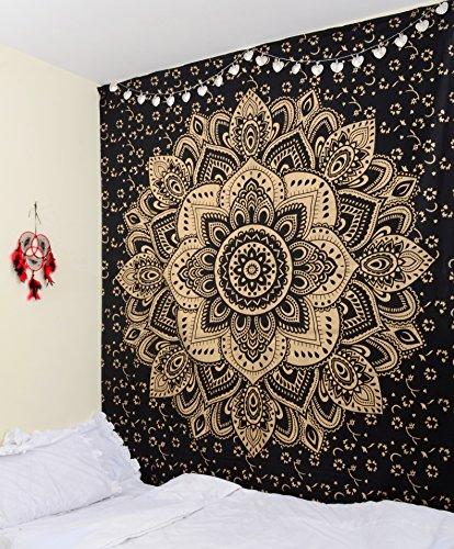 Craftura Original Or Noir Passion à suspendre au mur - Ombre Mandala Tapisserie indien - Décoration murale - Décoration murale de bohème - 100% coton - 213,4 x 228,6 cm