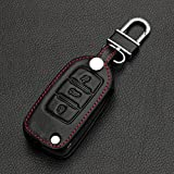9 MOON® High Quality leather,Compact and delicate design, soft and durable. Car Remote Key Holder Case Cover,3D Wallet Key Remote Case fit Volkswagen Vw Polo Passat B5 B6 Golf 4 5 6 Jetta Mk6 Tiguan Gol Crossfox Plus Eos Scirocco Beetle Black with Black Thread