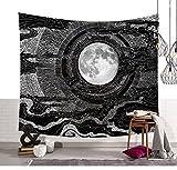 Schwarz Weiß Skizzierte Sonne Wandteppiche Indische Traditionelle Himmlische Sun Wand Kunst Tapisserie Hippie Wand hängenden Throw Böhmische Bettdecke Tischdecke Strand Decke 80 * 59in