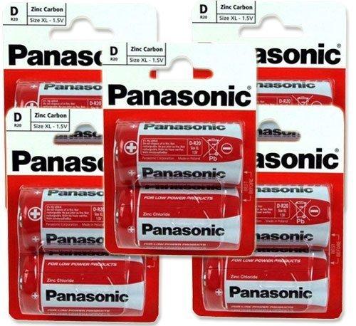 Panasonic R20R-2BP D Size 5 x 2Pack (10 Batteries)