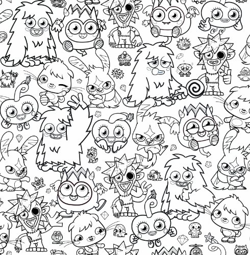 Fun4Walls - Papel pintado para colorear, diseño de Moshi Monsters ...