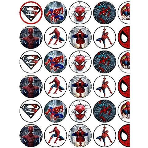 30surtidos Spiderman Premium Papel de Arroz Cup Cake Toppers