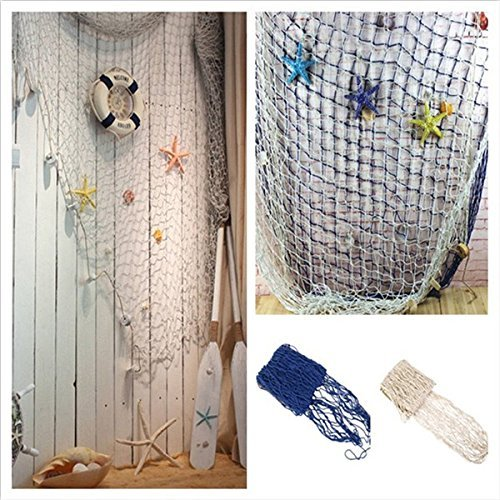 PIXNOR Decorative Wall Hanging Fish Net  Fishing Netting Luau Party Wall Decor  Blue