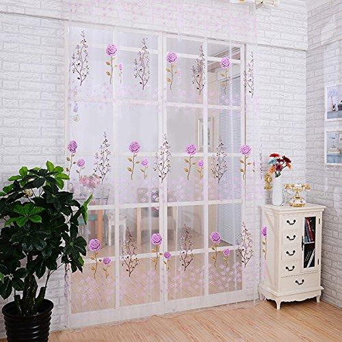 Lila Rose Voile Tuerfenstervorhang Panel Transparentem Tuell Vorhang Volant