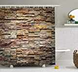ZHIZIQIU Marble Shower Curtain, Urban Brick Slate Stone Wall with Rocks Featured Facade Architecture Town Picture, Fabric Bathroom Decor Set with Hooks, 60x72 Inches, Multicolor