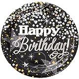 Unique Party 58275Folie glitzerndem Geburtstag Papier Teller (8Stück)