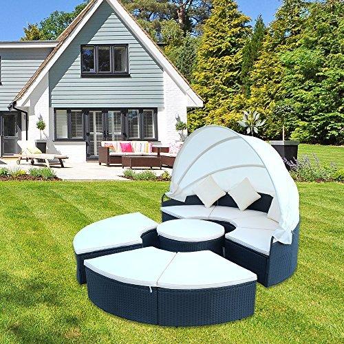 Hengda® Ø230cm Poly Rattan Sonneninsel faltbares Sonnenschutzdach 5cm dicke Sitzauflagen creme 3 bequeme Kissen Sonnenliege Gartenliege Liegeinsel Lounge Liege Gartenmöbel
