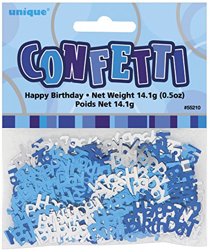 Unique Party Supplies Happy Birthday Konfettis - blau-grau 14g