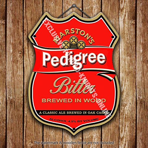Stahl Keg (MARSTON 's Pedigree Bitter Beer Werbung Bar Old Pub Drink Pumpe Badge Brauerei Cask Keg Zugluftstopper Real Ale Pint Alkohol Hopfen Form aus Metall/Stahl Wandschild, stahl, 27 x 20 cm)