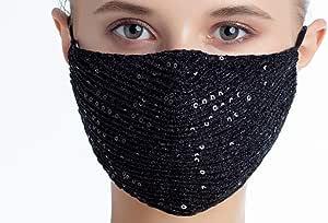 eBoutik - Mascherina per il viso con paillettes di alta qualità, traspirante, alla moda, ideale per pub/club/feste, Nero