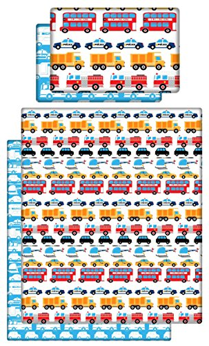 Babies-Island A 2 Piece Bedding Set Pillowcase+Duvet Cover For Baby Toddler To Fit Cot/Cot Bed – CARS, TRANSPORTATION (Size 120×150 cm)
