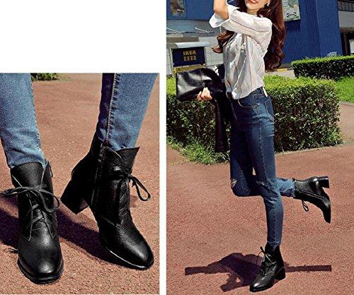 YYH Tempérament avec Boot lacet cuir femmes Simple et mince cheville Bootie coton chaussures de loisirs Black