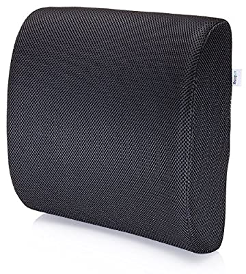 Premium Lumbar Support Pillow by MemorySoft - Memory Foam Lower Back Support Cushion for your Home, Office Chair, and Car - NEW Ergonomic Memory Foam Design with Cool Mesh Fabric (Black) - inexpensive UK light shop.