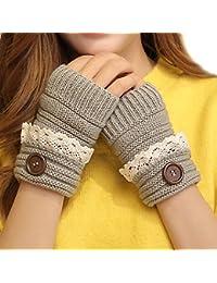 Lindo encaje invierno señoras mano caliente calentador de punto sin dedos manoplas mitad pulgar agujero guantes gris claro
