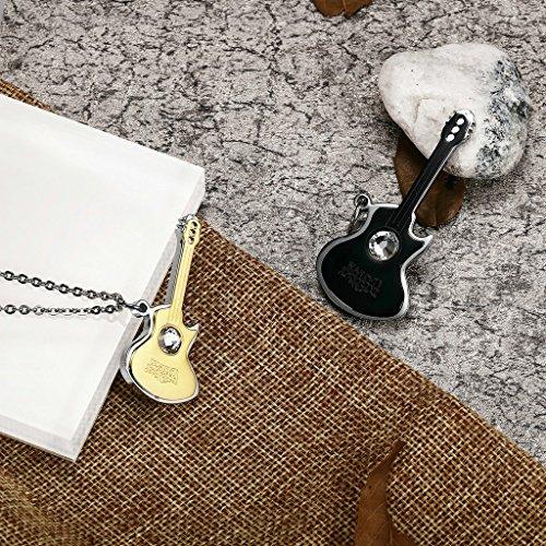 AnaZoz Bijoux de mode collier pendentif unisexe acier inoxydable guitarrara avec cristal pendentif collier pour femme or