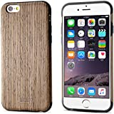 "BELK Carcasa rígida de madera para iPhone 6S/para iPhone 6, carcasa híbrida de goma, ultra fina, para iPhone 6 & iPhone 6S (4,7""), Rubber + Walnut, iPhone 6 Plus / iPhone 6S Plus - 5.5"""