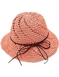 Kanggest Sombrero de Paja de los Niñas del Verano Hueco Sombrero para el Sol con Una Cuerda de Cuero para el Sombrero de Ala Ancha Viajes Niños (Caqui)