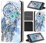 Samsung Galaxy Xcover 3 Hülle von CoverHeld Premium Flipcover Schutzhülle Xcover 3 aus Kunstleder Flip Case Motiv (1484 Traumfänger Dreamcatcher Blau)