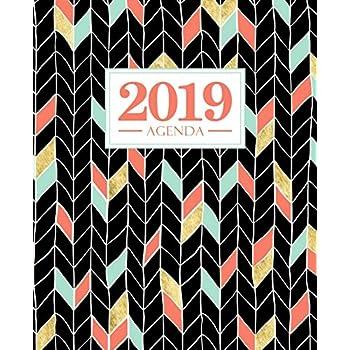 Agenda 2019: 19x23cm : Agenda 2019 semainier : or rouge et vert sur noir 5784