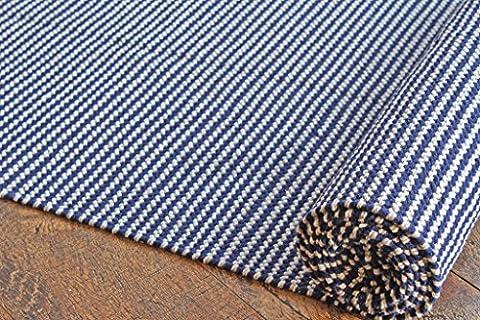 50x300 cm Tapis de chambre multicolore moderne. Tapis tissé plat réversible fait avec du fil 100 % organique et des colorants naturels. 1'8