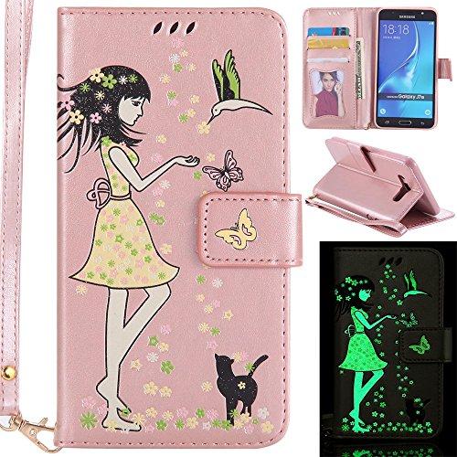Ooboom Samsung Galaxy J7 2016 Hülle Noctilucent Mädchen Muster PU Leder Flip Cover Case Handy Tasche Brieftasche mit Karte Slot Halter Trageschlaufe - Rose Gold