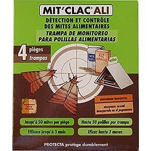 MIT'CLAC - Piège à mites alimentaires, Lot de 4, Action rapide, idéal pour la cuisine ou espaces de rangement