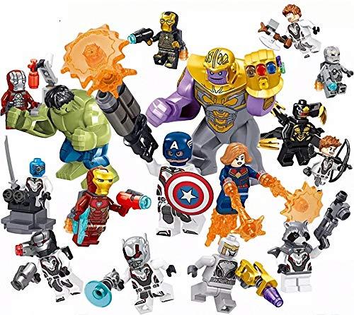 AMeu06 16 Stücke Minifiguren, Superhelden-Set mit Zubehör, Actionfiguren Bauklötze Kinder Spielzeug, Heroes Set with Accessories, Kids Gift 0332