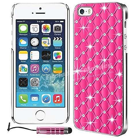 Mobileconnect4u Étui à rabat pour iPhone 5/5S Strass/chrome Coque arrière