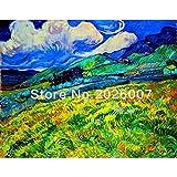 HANDBEMALT Hohe Qualität Van Gogh Landschaft aus Saint Malerei Wohnzimmer Dekoration Home Dekoration Leinwand Kunst, canvas, 40x64inch(100x160cm)
