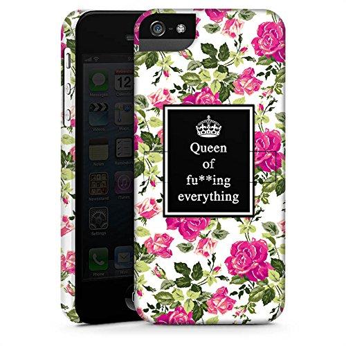 Apple iPhone 5 Housse Outdoor Étui militaire Coque Reine Phrases Motif fleurs CasStandup blanc