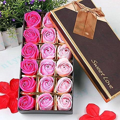 Itian 18 Pcs Préservé Rose parfumée Bath Savon Rose en boîte-cadeau(Rose Rouge)