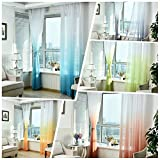 Sundlight Curtain Panel Colorful Window Curtain Floral Tulle Voile Door/ Window Drape 100x270cm- Blue