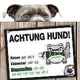 Hunde-Warnschild Schutz vor Hannover-Fans | Eintracht Braunschweig-, VFL Wolfsburg- & Alle Fußball-Fans, Dieser Revier-Markierer schützt Haus & Hof vor Hannover-Fans | mit Spaßgarantie für Hundefreu
