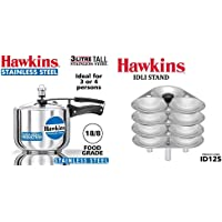 Hawkins Stainless Steel Tall Pressure Cooker, 3 litres, Silver & Mini Idli Stand for Pressure Cooker-Silver, 3-Litre (Maked 12 Small Idlis) Combo