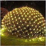 DHQSS Netz Lichternetz Lichterketten LED Für Draußen Innenräume Deko Leuchte Für Weihnachten Hochzeit Schlafzimmer Weihnachten Halloween -Warmweiß,Fernbedienung,Wasserfest,Warmwhite,1.5 * 1.5m