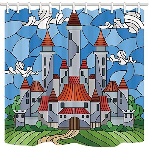 Märchen Bereich Alcazar Blue Sky White Cloud Puzzle Polyester-Schimmelresistent-Badezimmer Dusche Vorhang Set mit Haken 180x 180cm Badezimmer Zubehör ()
