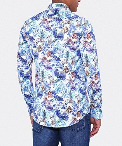 Guide London Herren Baumwollsatin versteckten Wald shirt Multi-gefärbt Multi-gefärbt