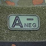3-D Rubber Patch - BW Blutgruppen A- NEG negativ Blut Erkennung Sani US Army BW Uniform Abzeichen 5x2,5cm #18643