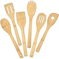 Pinsheng 6 Pièces Ustensiles de Cuisine Bois de Bambou, Ensemble Ustensiles De Cuisine en Bambou, Accessoires Anti…