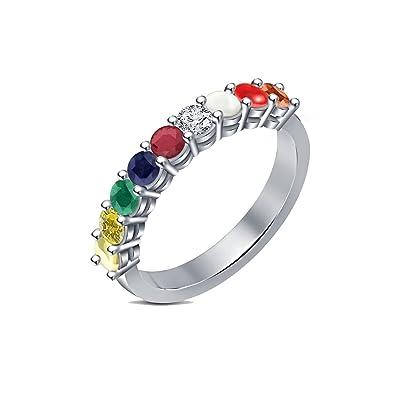 Buy PeenZone 92 5 Sterling Silver Navratna Ring For Uni line