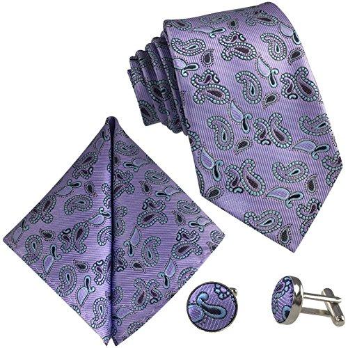 3- Set Paisley - Herren - Krawatte & Einstecktuch Manschettenknöpfe - Violett Schwarz Türkis Binder - Schlips zur Hochzeit